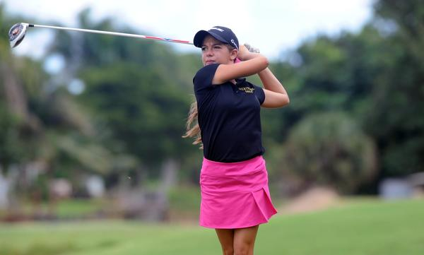 American Heritage's Jamie Freedman leads the Patriots in the District 23-2A tournament at Cypress Creek Country Club in Boynton Beach on Tuesday. (Gary Curreri, Sun Sentinel)