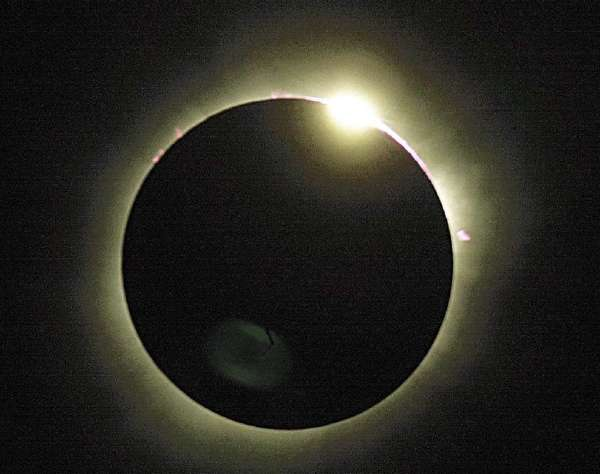 A total solar eclipse as viewed from Zambia in 2001.