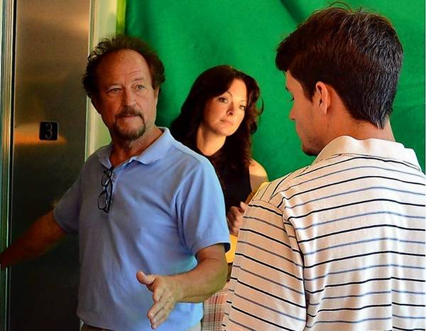 "From left, dirctor De Miller and actors Gena Burghoff and Evan Schwalb, working on a scene for ""A Letter for Joe."""