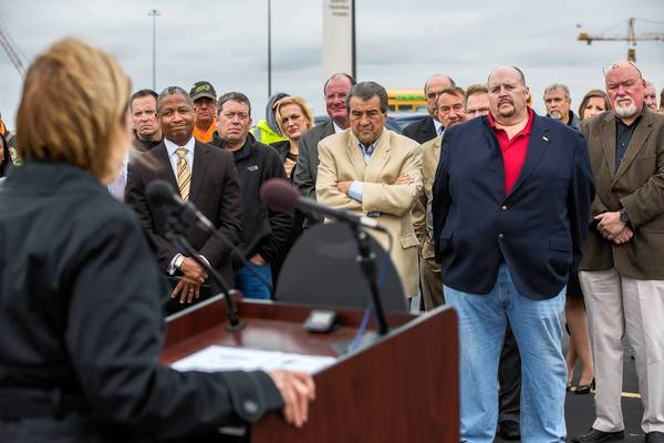 Illinois Transportation Secretary Ann Schneider calls for approval of the Illiana tollway at a rally Wednesday in Wilmington.