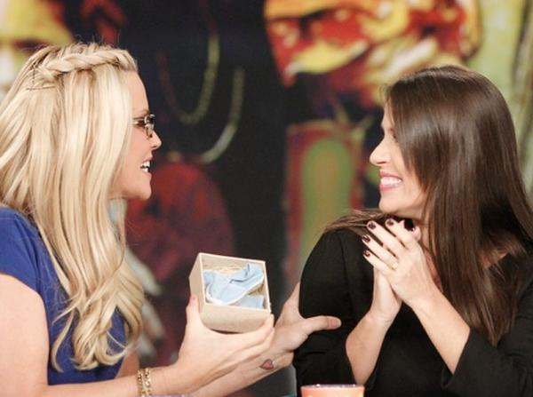 "Soleil Moon Frye announced on ""The View"" that she's having a baby boy. The ""Punky Brewster"" actress, right, gave a wrapped box to host Jenny McCarthy and said that the blue shoes inside revealed the baby's gender."