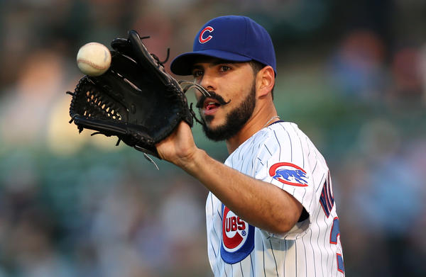 Cubs starting pitcher Carlos Villanueva on the mound in the first inning against the Rockies at Wrigley Field.