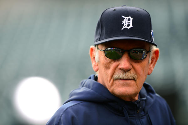 Tigers manager Jim Leyland watches batting practice prior to Game 4.