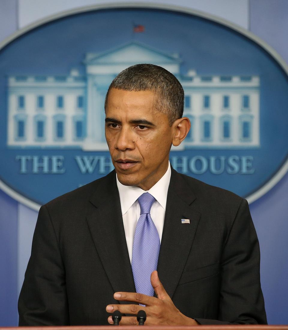 U.S. President Barack Obama speaks in the Brady Press Briefing room at the White House after the U.S. Senate voted to end the government shutdown and raise the debt limit on October 16, 2013 in Washington, DC.