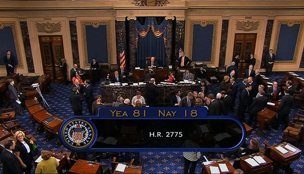 The final tally after the Senate voted to avoid a financial default and reopen the federal government.