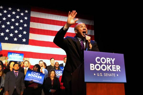 Cory Booker addresses supporters in Newark, N.J., after his election victory.