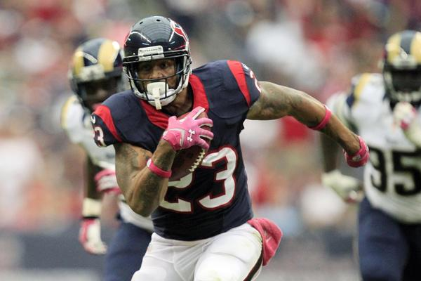 Houston Texans running back Arian Foster rushes against the St. Louis Rams last Sunday