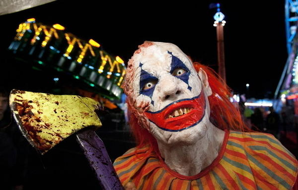 "Guests at CarnEvil haunted house outside the Sears Centre Arena in Hoffman Estates might meet James Caraway, aka ""Chokey"" the clown."