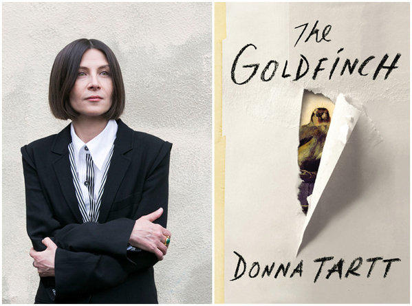 "Author Donna Tartt and the cover of her book, ""The Goldfinch."""