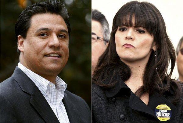 Los Angeles City Councilman Jose Huizar, left, and his former deputy chief of staff, Francine Godoy.