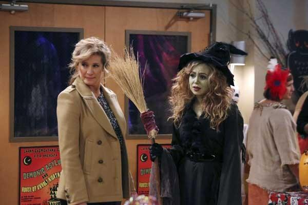 "A Haunted House is a little too scary on ""Last Man Standing"" with Nancy Travis, left, and Amanda Fuller."