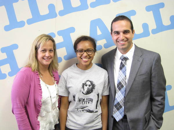 Sol-Atiya Galvan, center, is pictured with School Counselor Amy Landers and Principal Dan Zittoun.