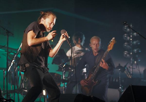 Atoms for Peace with Thom Yorke, left, and Flea onstage earlier this month in Austin, Texas.