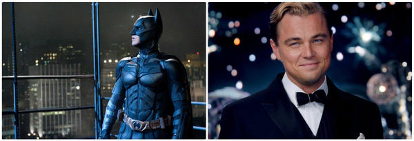 "Christian Bale, left, as Batman in ""The Dark Knight Rises"" and Leonardo DiCaprio in ""The Great Gatsby."" According to a recent survey, they're the two most popular ""costumes to meet"" among single women this Halloween."