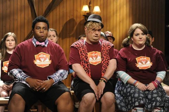 "Kenan Thompson (left, with Bobby Moynihan and Aidy Bryant) says he won't dress in drag anymore on NBC's ""Saturday Night Live."""