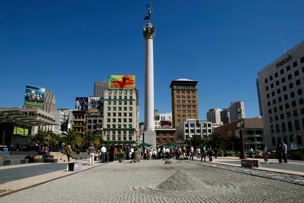 A zen garden created by Ivan Shvartz is seen in the middle of Union Square in San Francisco September 2007.