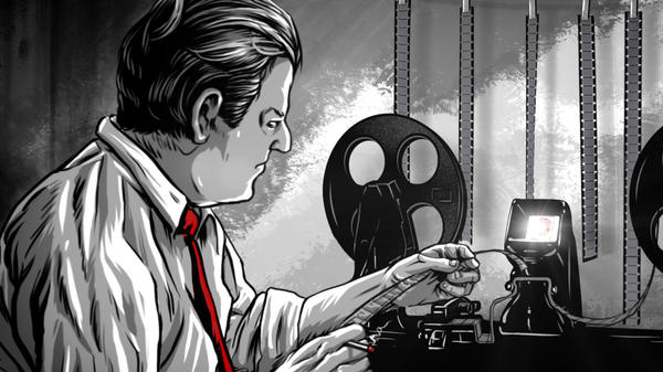 """An illustration of George Romero editing his seminal 1968 film """"Night of the Living Dead,"""" as seen in Rob Kuhn's documentary """"Birth of the Living Dead."""""""