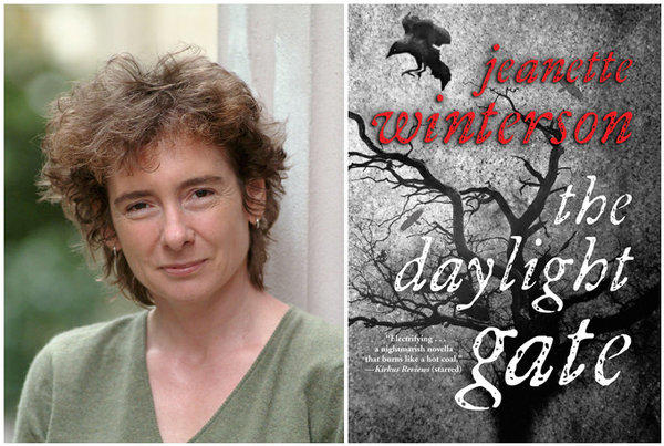 "Author Jeanette Winterson and the cover of ""The Daylight Gate."""