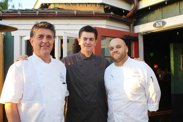From left, Azmin Ghahreman, executive chef and owner of Sapphire Laguna; Fabrizio Schenardi, executive chef of the Four Seasons Hotel in St. Louis; Devin Wells, chef de cuisine of Sapphire. The three chefs helped prepare an Italian harvest dinner inspired by dishes from Schenardi's hometown of Turin, Italy.