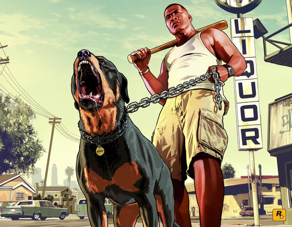 "Take Two Interactive's ""Grand Theft Auto V"" fueled a 27% across-the-board lift in software industry sales in September, as compared with the same time a year ago. Franklin, right, and Chop are among the characters in the title, which has plenty of violence."