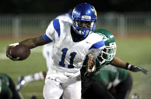 Quarterback Ajene Harris and Crenshaw will play rival Dorsey on Friday night in their annual Coliseum League battle.