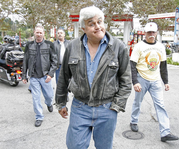 Jay Leno arrives at the 29th annual Love Ride where about 5000 motorcyclists, mostly on Harley Davidson's, gathered for a USO fundraiser that will conclude in Castaic on Sunday, October 21, 2012.