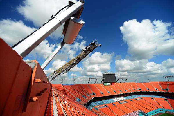 One of the many AT&T Distributed Antenna System antennas surrounding the bowl throughout the Sun Life Stadium providing cell service equivalent to 16 individual cell sites, enough to service a town the size of Miami Beach or Kendall. There are nearly 250 stealth antennas inside and outside the stadium.
