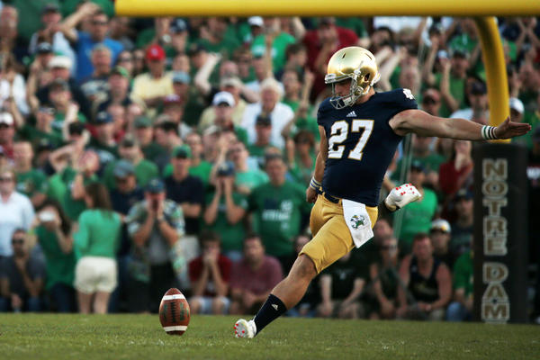 Kyle Brindza kicks the ball after Notre Dame scored against Oklahoma.