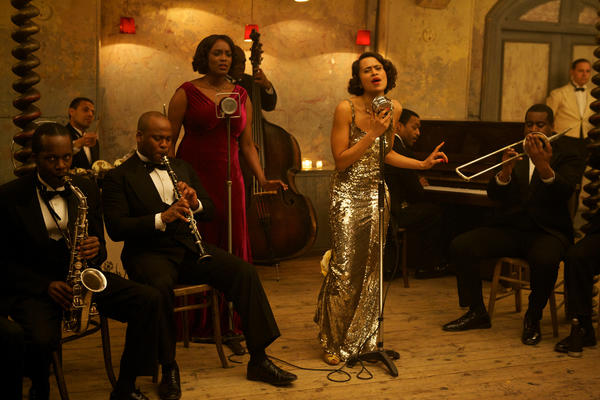 "Angel Coulby (center) and Wunmi Mosaku (red) do all their own singing in ""Dancing on the Edge."""