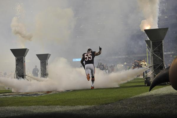 Lance Briggs takes the field against the Giants at Soldier Field.