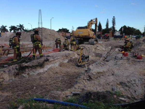 A worker was hurt when a gas line was cut at a construction site in Fort Lauderdale
