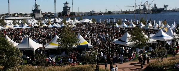 The fall Town Point Virginia Wine Festival in Norfolk is one of the region's largest festivals.