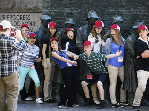 Eighth-graders from Parma, Ohio, visit the FDR Memorial in Washington, which had been closed the day before as part of the 16-day government shutdown.