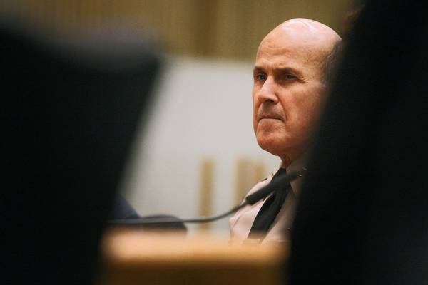 Los Angeles County Sheriff Lee Baca is shown at a meeting in September. A federal jury has found Baca personally liable in a case involving abuse of an inmate in the Men's Central Jail.