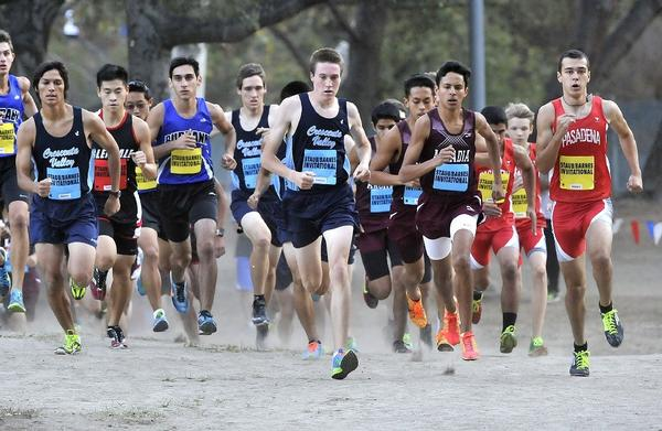 Crescenta Valley High senior Gabe Collison (center) leads the pack in the early stages of Thursday afternoon's second Pacific League cross-country meet at Crescenta Valley Park on Thursday. (Tim Berger/Staff Photographer)