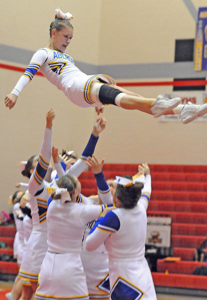 Members of the Aberdeen Central cheer team perform their stunting non-tumbling routine at Thursday's Eastern South Dakota Conference Cheer & Dance Championships in Yankton.