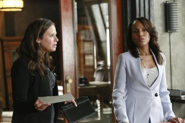 "Katie Lowes (left) and Kerry Washington on ""Scandal."""