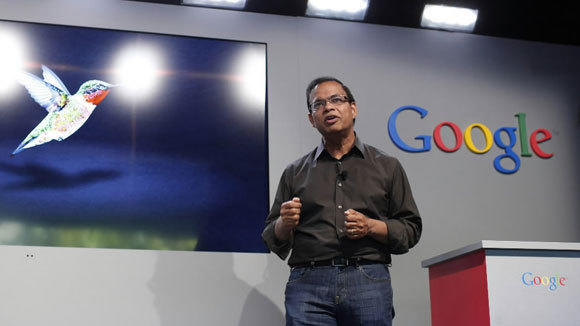 "Amit Singhal, senior vice president of search at Google, introduces the ""Hummingbird"" last month in Menlo Park, Calif."