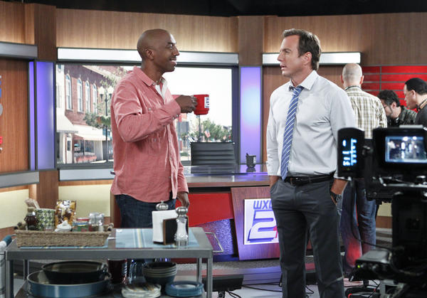 "J.B. Smoove and Will Arnett in ""The Millers."""