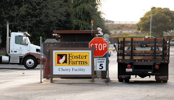 An exterior photo of the Foster Farms chicken plant on Cherry Avenue in southwest Fresno. The plant is one of two in Fresno where salmonella has been found.