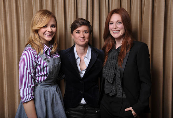 "Chloe Grace Moretz, left, director Kimberly Peirce and Julianne Moore of ""Carrie."""