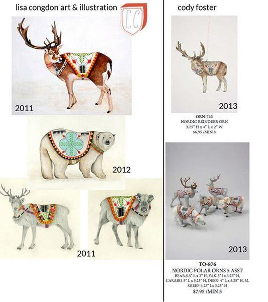 The recent Cody Foster ornaments are shown at right. Lisa Congdon's illustrations, left, are from 2011.