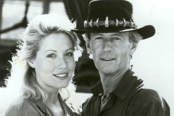 "Linda Kozlowski and Paul Hogan in the hit 1986 movie ""Crocodile Dundee."" The two married in 1990, and reportedly separated last month."