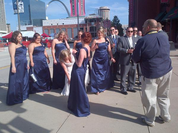 Chris Demko and Nikki Laurent stop by Busch Stadium with their wedding party before their nuptials.