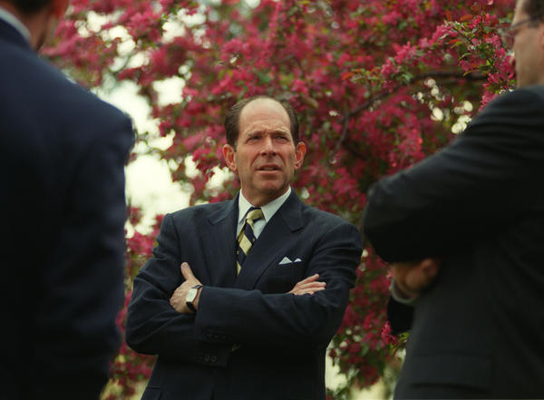 Evan Dobelle, president of Trinity College, outside his home at the conclusion of an awards ceremony.