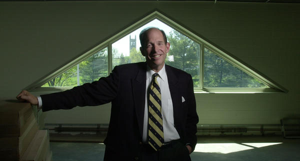 5-3-2000 Evan Dobelle, trinity President poses in the Montessori School in the Learning Corridor that is being built between Broad and Washington Streets in Hartford. Trinity is seen through the window in the background.