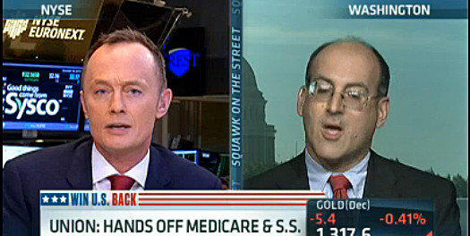 CNBC's Simon Hobbs, left, tries and fails to comprehend the facts about Social Security. The teacher is Damon Silvers of the AFL-CIO.
