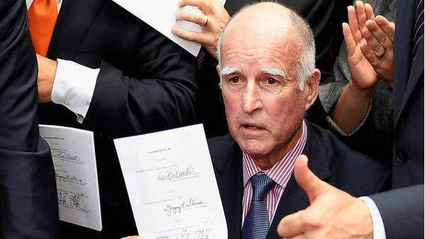 California Gov. Jerry Brown is shown at a bill-signing at Los Angeles City Hall earlier this month. There was something for everyone in his signings and vetoes. He liberalized some social policies, blocked some ideas that conservatives disliked and took the middle ground on many other matters.