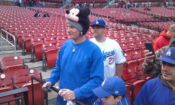 Dodgers fan Gabe Prewitt of Lexington, Ky., shows off his Mickey Mouse hat while watching batting practice before Game 6 of the National League Championship Series between the Dodgers and St. Louis Cardinals at Busch Stadium on Friday.