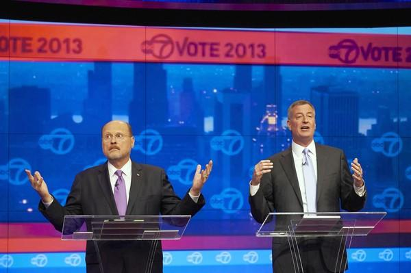 New York City mayoral candidates -- Republican Joe Lhota, left, and Democrat Bill de Blasio -- spar in a televised debate.